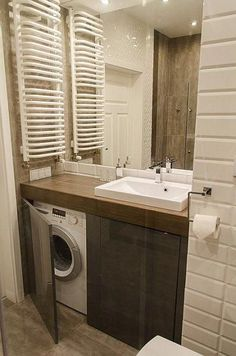 Ideas for bathroom ideas small modern washing machines Ikea Bathroom, Bathroom Taps, Laundry In Bathroom, Budget Bathroom, Bathroom Flooring, Bathroom Interior, Bathroom Storage, Modern Bathroom, Master Bathroom