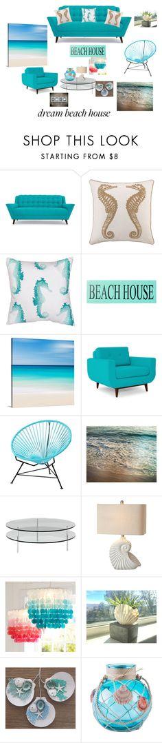 """Dream Beach Home"" by cdavis-5 ❤ liked on Polyvore featuring interior, interiors, interior design, home, home decor, interior decorating, Joybird, Peking Handicraft, Jaipur and Sara's Signs"