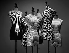 crazy graphics on dress forms... amazing