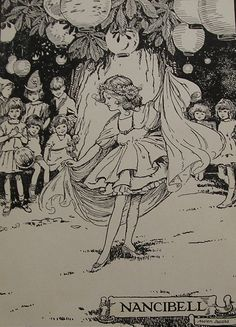 Nancibell the Dancer Original Vintage Childrens Print by Helen Jacobs from 1923 - Lanterns - Party - Matted - Ready to Frame