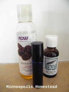 Jojoba and Tea Tree Acne Spot Treatment - one glass roller container (preferably a dark container), tea tree oil extract (40%), jojoba oil (60%) Directions -Take the cap off of your roller. fill your container with tea tree oil until about 40% full. Then fill the rest with jojoba oil (should be about 60% in volume) and shake, and roll on to any area of your face you'd like. Store in a cool dark area.