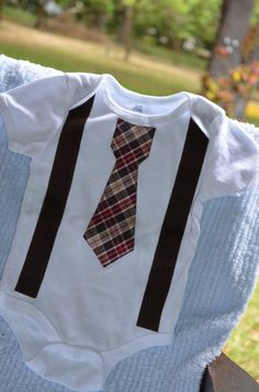 Tie Onesie with  Suspenders