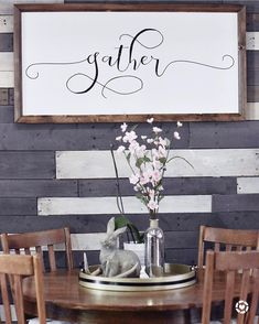 Gather sign. Breakfast nook