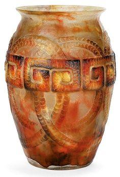 Gabriel ARGY-ROUSSEAU (1885-1953) Grand vase 'Frise Grecque', circa 1927, à corps ovoïde et col évasé, en pâte de verre jaune et tra...
