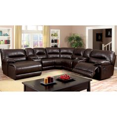 Furniture of America Tennor Brown Bonded Leather Theatre Sectional - Overstock™ Shopping - Big Discounts on Furniture of America Sectional Sofas