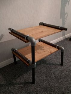 Industrial metal scaffold pipe side table or TV stand