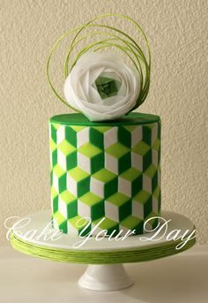 Wedding Cake Green Shades.  - Cake by Cake Your Day (Susana van Welbergen)