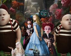 Movie Alice In Wonderland (2010)  Alice In Wonderland Mia Wasikowska Helena Bonham Carter Johnny Depp Anne Hathaway Alice (Alice In Wonderland) Mad Hatter Queen Of Hearts Cheshire Cat White Queen Tweedledee Tweedledum Wallpaper