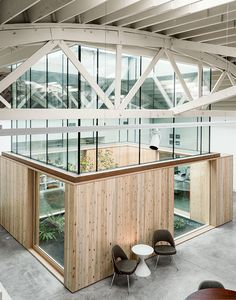 A renovated warehouse in Portland with a central atrium.