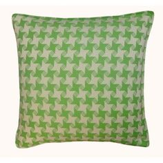 Jiti Houndstooth Outdoor Throw Pillow Color: Green