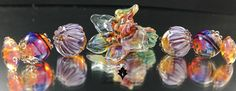 Flower Sculptural Glass beads set - Lampwork by Lorraine Dowdle