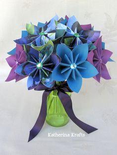 Origami kissing flower ball origami wedding ideas pinterest origami wedding bouquet paper bouquet blue purple green 4200 via mightylinksfo