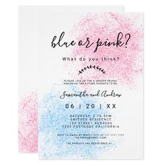 Gender reveal pink blue glitter typography invitation