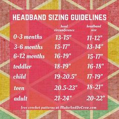 Crochet, knit and no-sew headband size guidelines. This chart includes sizes for newborns, 3-6 months (baby), 6-12 months, toddler/preschooler, child, and teen/adult. Click for free crochet headband pattern. | http://MakeAndDoCrew.com