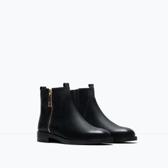 ZARA - TRF - BASIC LEATHER ANKLE BOOTS
