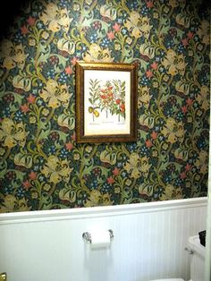 William Morris fabric and wallpaper Golden Lilly by Dearle William Morris Wallpaper, Morris Wallpapers, Lily Wallpaper, Bathroom Wallpaper, Comin Home, Yellow Houses, Bathroom Images, Arts And Crafts Movement, English Inn