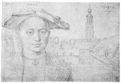 Dürer, Albrecht: Porträt eines vierundzwanzigjährigen Mannes und Blick auf St. Michel in Antwerpen
