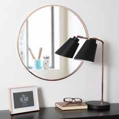 Koperkleurige metalen ronde GRAZZIA spiegel D 50 cm