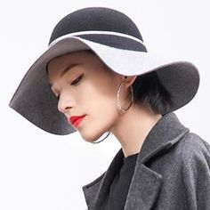 79fc266015d Black and gray wool floppy hat for women fashion winter wide brim felt hats