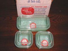 Anchor Hocking Fire King Jadite Jadeite Jade-ite 6 pc Refrigerator Jar Set MIB