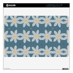Nice white flower on blue background giving it a cool and trendy looks to decorative your product. You can also Customized it to get a more personally looks. Macbook Air Decals, Laptop Stickers, Laptop Skin, Blue Backgrounds, Abstract Pattern, Flower Patterns, White Flowers, Your Style, Cool Designs