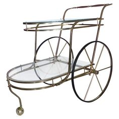 Image of Brass & Glass Serving Trolley