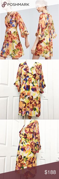 """Anthropologie Deloria Printed Silk Dress by Maeve This is a gorgeous silk dress by Maeve for Anthropologie.  Dress is an a-line silhouette with Kimono sleeve detail and open back with button closure.  Has an all over floral Watercolor motif. Brand new, never worn. Material tag has been listed. Measurements laid flat: Bust:  18"""" Waist:  15"""" Hip:  22"""" Length from top of shoulder to hem:  35"""" *Measurements are approximate. Anthropologie Dresses"""