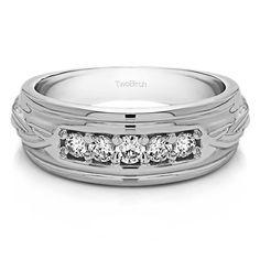 14k White Gold Engraved Design Men's Wedding Ring With Diamonds (G-H,I2-I3) (0.25 Cts., G-H, I2-I3) (14k Yellow Gold, Size 12.5) (solid)