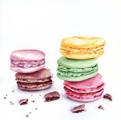French Macarons ORIGINAL Painting Still Life by ForestSpiritArt