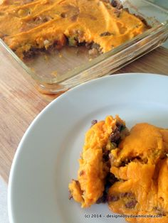 Paleo friendly sweet potato shepherd's pie. Lots of great protein, veggies and flavour to keep everyone happy