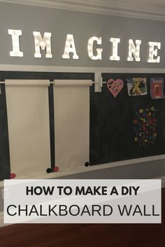 A chalkboard wall is the perfect addition to a playroom. Read more on how to make a chalkboard wall. DIY Framed Magnetic Chalkboard Wall for Kid's Playroom) Chalkboard Wall Playroom, Magnetic Chalkboard, Magnetic Wall, Chalkboard Walls, Playroom Storage, Playroom Design, Playroom Ideas, Playroom Organisation, Playroom Table