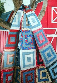 Log Cabin Quilts, Lap Quilts, Scrappy Quilts, Denim Quilts, Patchwork Jeans, Strip Quilts, Quilt Blocks, Heart Quilt Pattern, Quilt Patterns