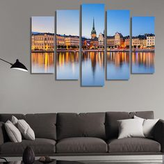 LARGE XL Old Town Gamla Stan in Stockholm, Sweden Canvas Print Town Skyline at Sunset Canvas Wall Art Print Home Decoration - Stretched