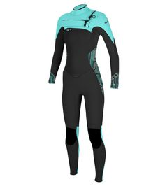 Staged zoom image for O'Neill WOMENS SUPERFREAK F.U.Z.E. 4/3 FULL WETSUIT  - BLK/MAYA/SEAGLASS - Image 1