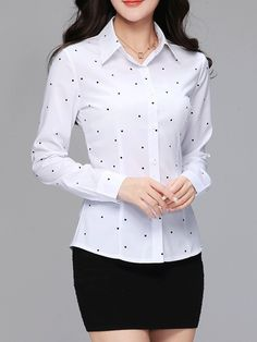Turn Down Collar Polka Dot Long Sleeve Blouses Shop sexy club dresses, jeans, shoes, bodysuits, skirts and more. Bell Sleeve Blouse, Collar Blouse, Cheap Blouses, Blouses For Women, Blouse Styles, Long Sleeve, Sleeves, Polka Dot, Clothes