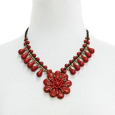 Hand woven red necklace with tear drops
