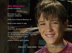 I Love you Wil Wheaton xx Gordie Lachance, Wesley Crusher, Actors Then And Now, Best Young Actors, 1980s Films, Corey Feldman, Wil Wheaton, Indie Movies, Coming Of Age