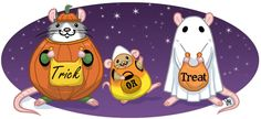 From: It's A Rat's World Magazine! Drawn by Jessica Hymas Wilkerson #rats #halloween