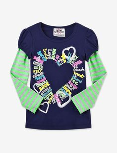 Beautees Toddler & Girls Neon Striped Layered Heart Tee