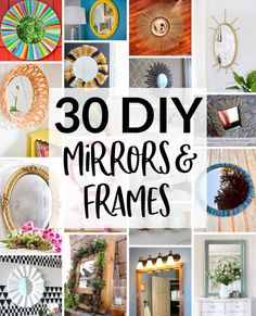 30 DIY Mirror Frames,From colorful to plain to faux finish to upcycled, all of these DIY mirror frame ideas are easy enough for anyone to try. Bathroom Mirrors Diy, Diy Mirror, Decorate Mirror, Retro Mirror, Handmade Mirrors, Mirror Painting, Mosaic Diy, Diy Frame, Decoration