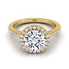 14k Yellow Gold IGI-certified 1 1/4ct TDW Round Diamond Halo Engagement Ring with Graduated Pave Shank (H-I,VS1-VS2) (Size - 6.5), Women's