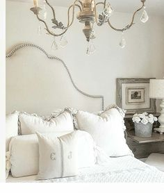 guest room - EXQUISITE!! (Would you believe this is the exact same headboard I have been trying to find!! - I want to buy it!! Grrrrr!! )  I ABSOLUTELY LOVE IT & THE GORGEOUS DECOR WHICH COMPLETES THIS ROOM!⚜