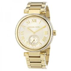 Pre-owned Michael Kors MK5867 Skylar Champagne Dial Gold-tone... ($115) ❤ liked on Polyvore featuring jewelry, watches, gold tone jewelry, stainless steel watches, stainless steel jewelry, goldtone jewelry and michael kors jewelry