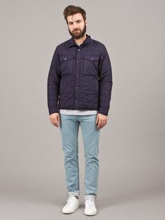 Wings + Horns Navy Mini-Ripstop Shirt Jacket