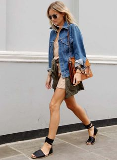 lucy williams look jaqueta jeans flats street style