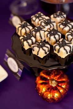 Spider Petits Fours for Halloween · Edible Crafts | CraftGossip.com