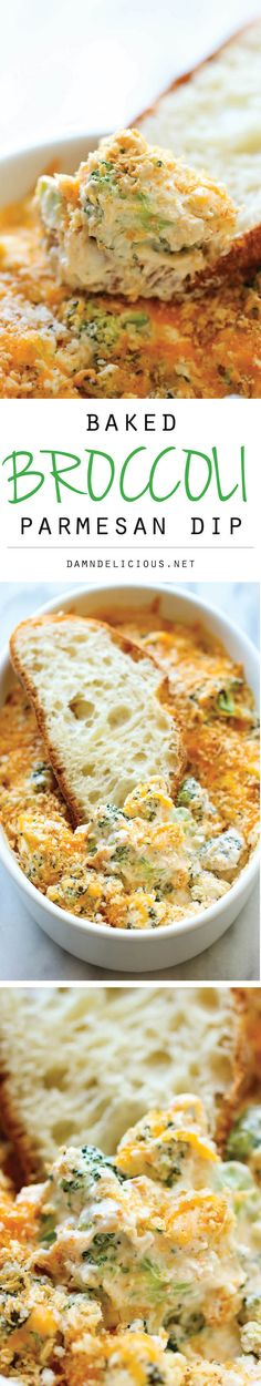 Baked Broccoli Parmesan Dip: A wonderfully hot and cheesy broccoli dip that is sure to be a crowd pleaser – people will be begging you to make more! @andreadunn1581