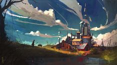 Liquid fields, an art print by Ismail Inceoglu - INPRNT Environment Concept Art, Environment Design, Psychedelic Art, Fantasy Landscape, Landscape Art, Arte Sci Fi, Fantasy Setting, Matte Painting, Watercolor Paintings