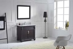 Victoria Italian Carrara White Marble Single Bathroom Vanity Set with Faucet (Rectangle - Brushed Nickel Faucet/Dark Espresso Finish), Black, VIRTU USA Small Bathroom Vanities, Single Sink Bathroom Vanity, Bath Vanities, Single Vanities, Bathroom Cabinets, Round Sink, Square Sink, Brushed Nickel Faucet, Mirror House