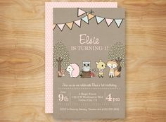 Enchanted Forest Birthday Invitation, Woodland Birthday Party Invite, DIY Printable, Woodland Animals and Woodland Creatures, Fox Deer Owl on Etsy, $15.00